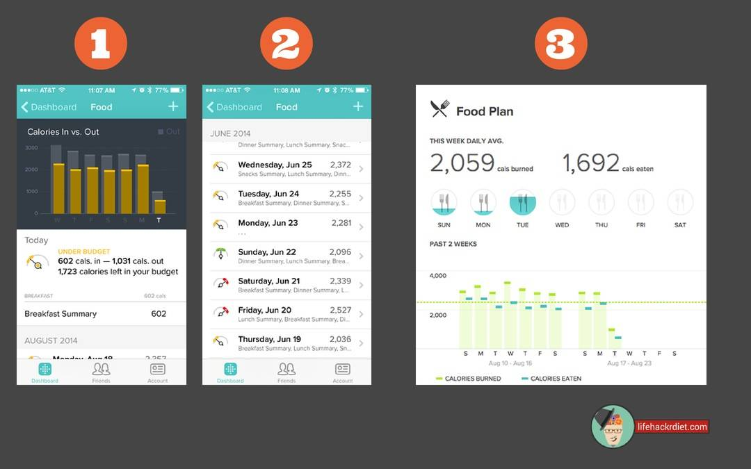Kickstart Your Diet! Observe. See your calorie consumption patterns in the Fitbit app dashboard.