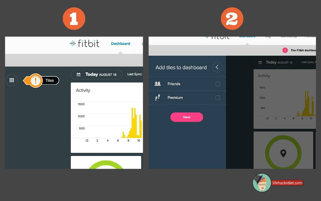 Kickstart Your Diet! Observe. How to edit your tiles on the Fitbit web dashboard.